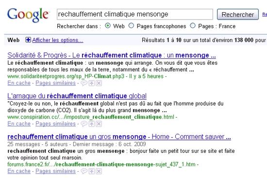 Résultat Google réchauffement climatique mensonge
