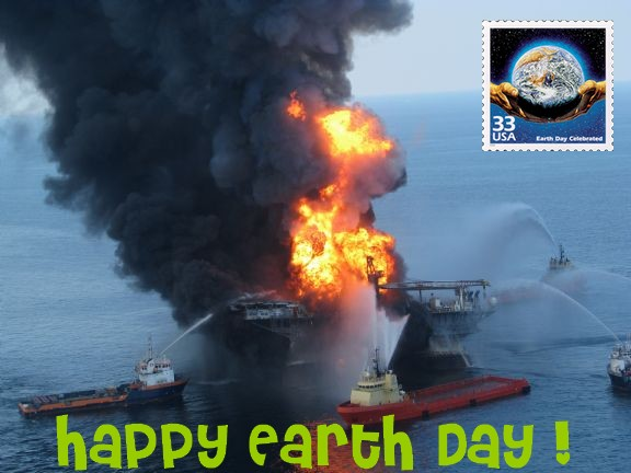 Carte postale maree noire Happy Earth Day